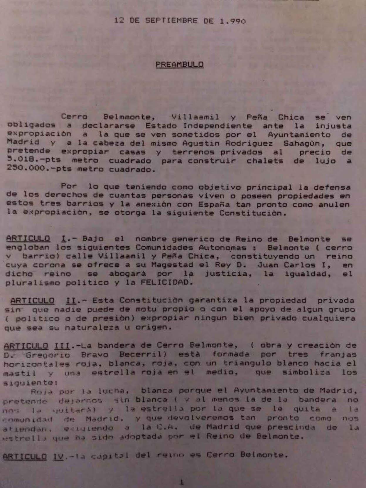 Primera hoja de la Constitución de Cerro Belmonte, aprobada tras referéndum en septiembre del 90.